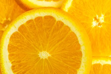 macro of texture slice orange fruit .Close up flesh of orange. 写真素材