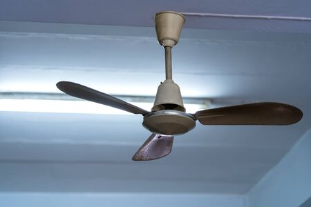 Old ceiling fans Hanging on the ceiling