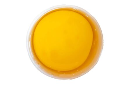 top veiw yolk isolated on white background with clipping path.