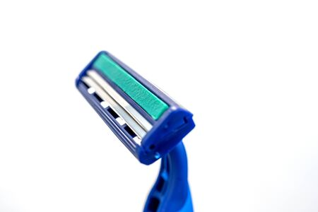 blue razor isolated on white background with clipping path