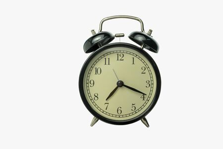 alarm clock isolated on white background with clipping path 版權商用圖片