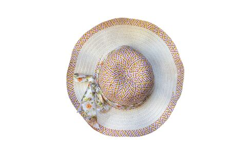 Top view of a round straw hat isolated on a white background with clipping path.