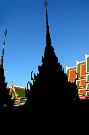 Silhouette Roof of Thai s Temple photo