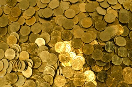 Pile of Thai currency coins  2 Baht  background photo