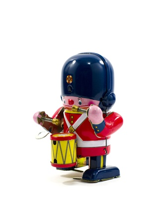 windup: Old Metal Toy - The Drummer British Army Stock Photo