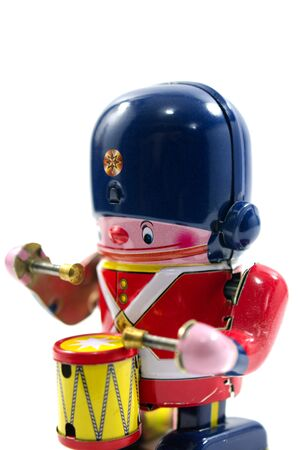 british army: Old Metal Toy - The Drummer British Army Stock Photo