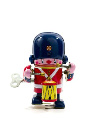 toy soldier: Old Metal Toy - The Drummer British Army Stock Photo