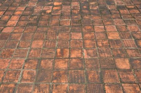 perspectiva lineal: piso de ladrillo, piso de ladrillo horizontal naranja antig�edades con el hongo h�medo negro