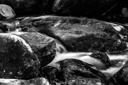 namtok: Little water fall at Namtok Phlio National Park, Black and White