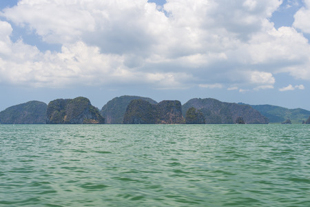 Rocky tropical landscape in the Pang Nga bay, Thailand Stock Photo