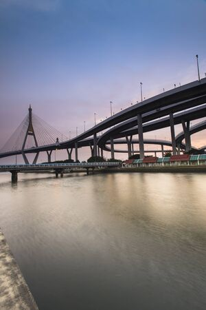 Bangkok City - Beautiful sunset view of Bhumibol Bridge,Thailand Stock Photo
