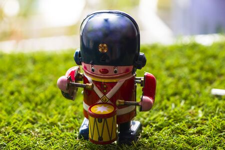 Old tin classic toy drummer, Vintage Wind Up Mechanical Soldier Drummer Clockwork Tin Toy Stock Photo