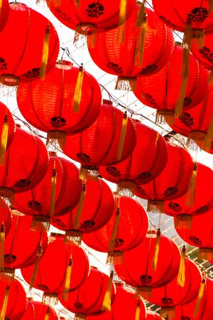 malaysia culture: red comp lamp chiness style decoration in chiniese new year festival Stock Photo