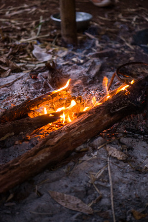 gas fireplace: Fire in outdoors fire pit - Camp fire., Sensitive focus