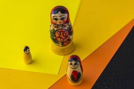 decreasing: Russian Traditional Dolls Matrioshka - Matryoshka or Babushka, Sensitive Focus Stock Photo