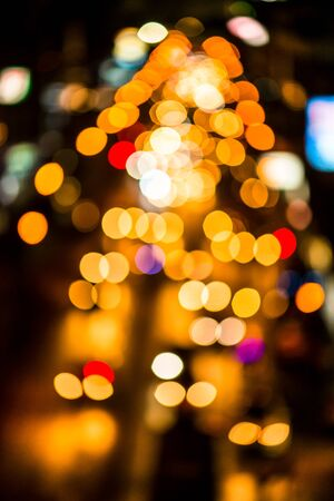 mode: abstact blur bokeh of Evening traffic jam on road in city., night scene Stock Photo