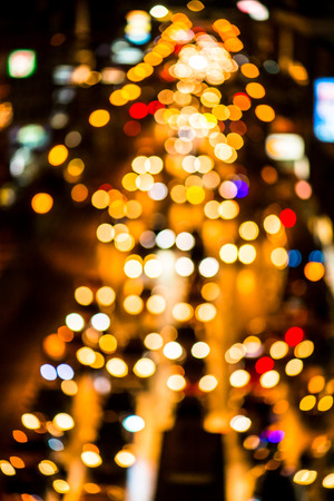 abstact blur bokeh of Evening traffic jam on road in city., night scene Stock Photo
