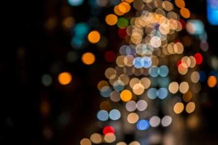 lighting background: abstact blur bokeh of Evening traffic jam on road in city., night scene Stock Photo