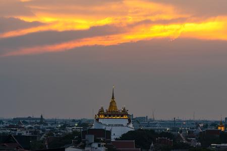 The Golden Mount at Wat Saket, Travel Landmark of Bangkok THAILAND