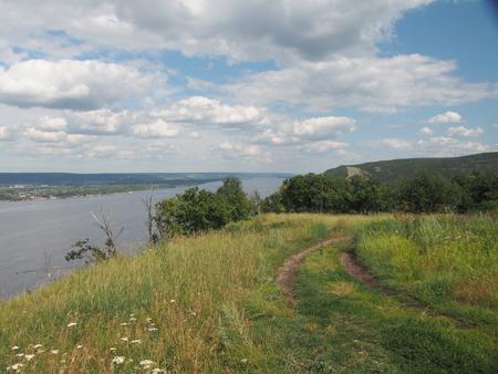 View of the Volga river from the mountain. Samarskaya Luka. Zhiguli mountains. Summer landscape.
