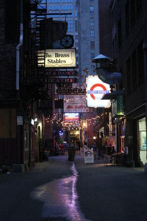 evening newspaper: Printers Alley Nashville TN
