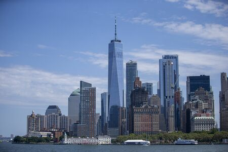 A view of lower Manhattan and One World Trade Center on board the Staten Island Ferry in New York City Harbor.