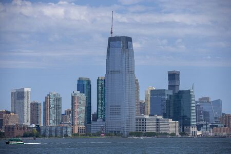 A view of the Jersey City, N.J. on board the Staten Island Ferry in New York City harbor.
