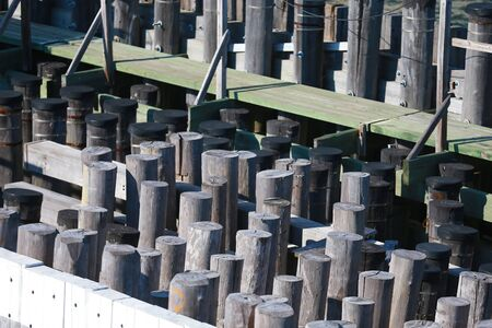 Pilings at Staten Island Ferry in New York City. Редакционное