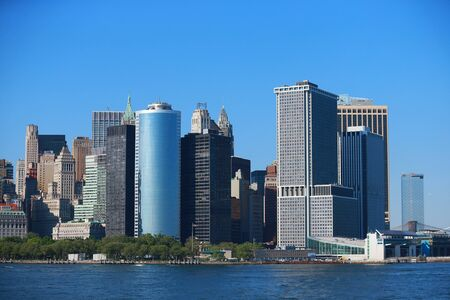 A view of lower Manhattan on board the Staten Island Ferry in New York City Harbor.