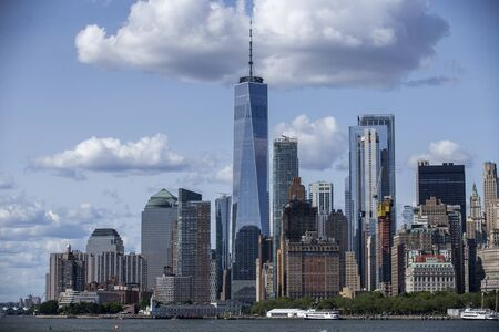 A view of lower Manhattan and One World Trade Center from the Staten Island Ferry in New York City.