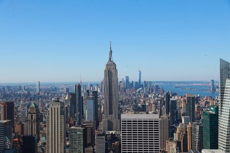 A view of lower Manhattan is seen from midtown Manhattan in New York City. 写真素材