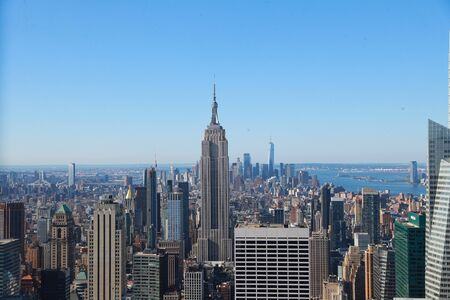 A view of lower Manhattan is seen from midtown Manhattan in New York City. Фото со стока