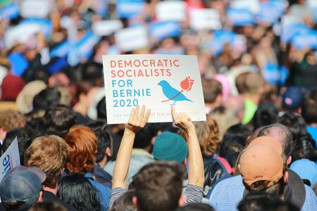 Supporters hold up signs as Vermont senator and presidential candidate Bernie Sanders speaks at the Bernies Back Rally in Long Island City, N.Y. on Saturday, Oct. 19, 2019. (Photo: Gordon Donovan)