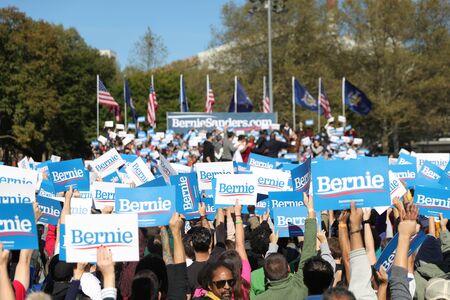 Nina Turner, co-chair of Bernie Sanders's presidential campaign, speaks at the Bernie's Back Rally in Long Island City, N.Y. on Saturday, Oct. 19, 2019. (Photo: Gordon Donovan) Фото со стока - 133263775