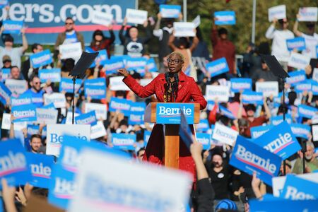 Nina Turner, co-chair of Bernie Sanders's presidential campaign, speaks at the Bernie's Back Rally in Long Island City, N.Y. on Saturday, Oct. 19, 2019. (Photo: Gordon Donovan) Фото со стока - 133263776