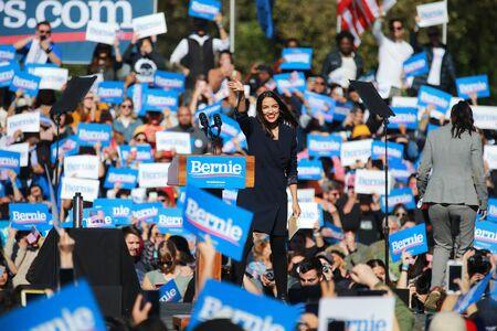 U.S. Representative Alexandria Ocasio-Cortez, Democrat of New York, speaks at the Bernie's Back Rally in Long Island City, NY. on Saturday, Oct. 19, 2019. (Photo: Gordon Donovan) Фото со стока - 133263778
