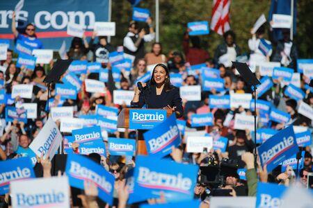 U.S. Representative Alexandria Ocasio-Cortez, Democrat of New York, speaks at the Bernie's Back Rally in Long Island City, NY. on Saturday, Oct. 19, 2019. (Photo: Gordon Donovan) Фото со стока - 133263782