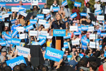 U.S. Representative Alexandria Ocasio-Cortez, Democrat of New York, speaks at the Bernies Back Rally in Long Island City, NY. on Saturday, Oct. 19, 2019. (Photo: Gordon Donovan) Sajtókép