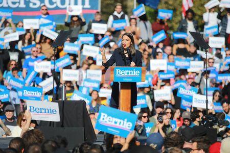 U.S. Representative Alexandria Ocasio-Cortez, Democrat of New York, speaks at the Bernie's Back Rally in Long Island City, NY. on Saturday, Oct. 19, 2019. (Photo: Gordon Donovan) Stock fotó - 133263789