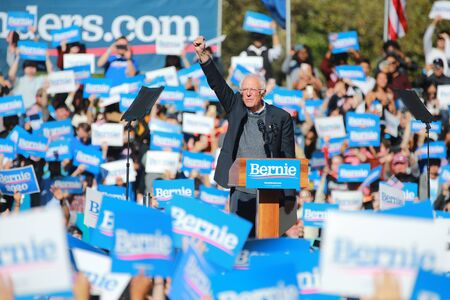 Supporters await Vermont senator and Democratic presidential candidate Bernie Sanders as he campaigns at the Bernies Back Rally in Long Island City, N.Y. on Saturday, Oct. 19, 2019. (Photo: Gordon Donovan)