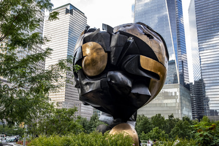 """The Sphere"" has been relocated to Liberty Park, which overlooks the World Trade Center memorial on Sept. 4, 2019. (Photo: Gordon Donovan)"