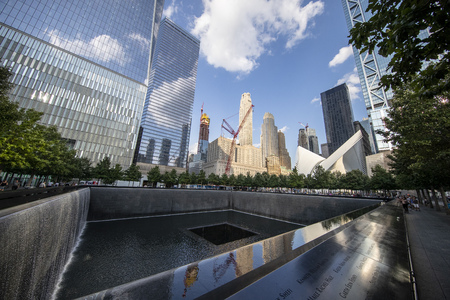 A view of Lower Manhattan from one of two reflecting pools at the National September 11 Memorial & Museum where the original One World Trade Center once stood, on Sept. 4, 2019. (Photo: Gordon DonovanYahoo News)