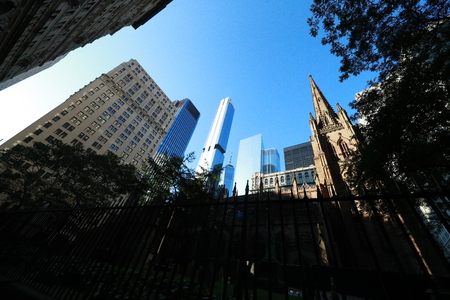 Before 911, the original World Trade Center towers could be seen from the Trinity Church Cemetery in Lower Manhattan, Sept. 2, 2019. (Photo: Gordon DonovanYahoo News) Редакционное