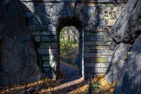 The Pinebank Arch Bridge in Central Park, New York City Фото со стока