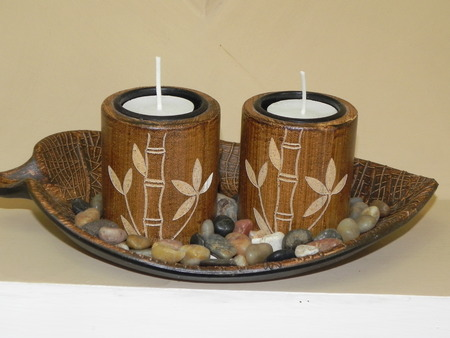 votive: Votive candles in bamboo holders Stock Photo