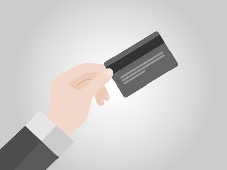 holding credit card: Hand holding credit card, vector Illustration