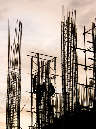 silhouette of Workers in construction site