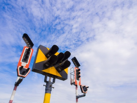 Train traffic light system with blue sky background Stock Photo - 15393177
