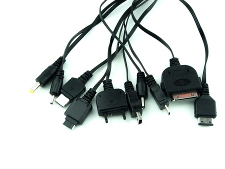 Universal usb cell phone charger on isolated background