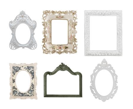 shabby chic: six vintage style photo frames isolate on white background Stock Photo